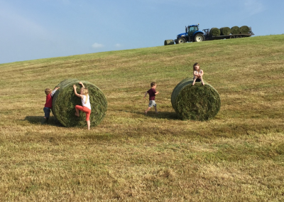 kids and hay